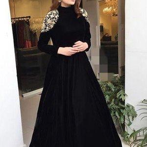 Элегантное Abiye Black с длинными рукавами арабские мусульманские вечерние платья 2021 кружева аппликация линия длиной до пола платье одеяла до того