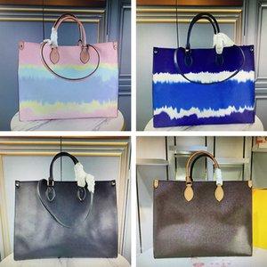 OnThego Casual Tote Luxurys Designers Bolsos Fashion Genuine Cuero Dyeing Bolsa de hombro Toron Doble Manija Lady Bolsas de compras Mujer Monedero M45119 M45120 M45121