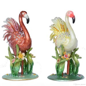 Jeweled Pewter Flamingo Trinket Jewelry Box Bird Figurines Statues Creative Gifts