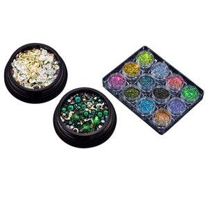 Nail Glitter 2 Box 3D Jewelry Colorful Mixed Acrylic Tip Diamond Flat Jewel Stone & 1 Powder Pigment Set Fluorenscence