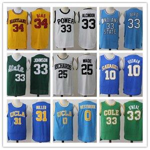 Men Basketball Jersey Alcindor 33 Bird 34 Bias Johnson College Jerseys 25 Wade High School Shirts Rodman 10 UCLA Miller 31 Westbrook