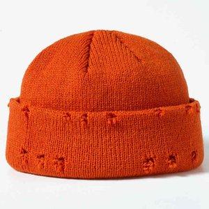 Men Hip Hop Harajuku Skullies Hats Ripped Gates Used Hats Plain 2021 Herfst Winter Soft Katoen Warm Caps