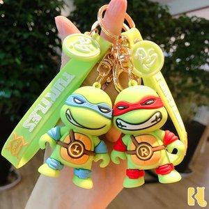 Cartoon Ninja tortoise doll pendant men's and women's bags decoration car personality key chain animation gift6OLB