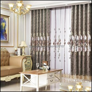 Curtain Deco El Supplies Home Gardencurtain & Drapes Curtains For Living Room Bedroom Wind Chenille Hollow Embroidery Rich Peony Jacquard Bo