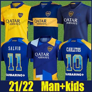 2020 Boca Juniors Soccer Jersey Carlitos Tevez Maradona Shirts De Rossi Salvio Abila Soccer Uniform Boca Juniors Kids Kit 20/21