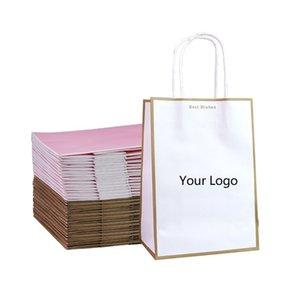 Крафт бумажный пакет настоящей сумки индивидуальная одежда, покупки белый коричневый бумажный пакет для упаковки (печать не включено) 210401