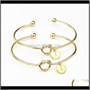 Fashion Jewelry 26 Az English Bangle Sier Gold Letter Charm Bracelet Love Knot Wristband Cuffs S304 Oxxzo Sm7Wf