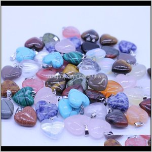 Pendant Necklaces Jewelry Drop Delivery 2021 Fancy Heart Natural Stone Gemstone Pendants High Polished Loose Beads Sier Plated Hook Fit Brace