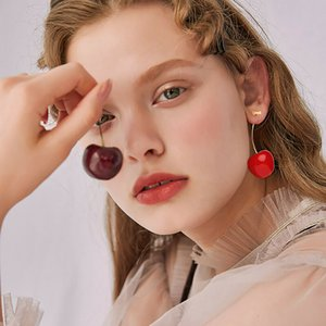 Cute Simulation Red Cherry Dangle Earrings Sweet Resin Gold Color Earring High Quality Women Girl Student Fruit Shape Jewelry 103 M2