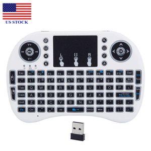 مصغرة I8 لوحة المفاتيح الخلفية مع لوحة اللمس اللاسلكية 2.4 جيجا هرتز 3-color الأبيض C0211 الولايات المتحدة الأسهم الشحن السريع