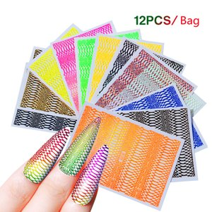 12Pcs lot Serpentine Nail Stickers for DIY Art Decoration Fashion Animal Skin Nails Accessories for Manicure Design