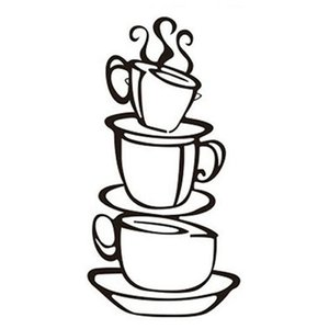 Wall Stickers Removable DIY Kitchen Decor Coffee House Cup Decals Metal Mug Sticker