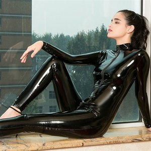 PVC Erotic Sexy Crotchless Latex Bodysuit Double Zipper Dress for Sex Woman Breast Exposing Open Crotch Leather Catsuit Lingerie L0407