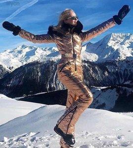 سترة عارضة معطف لامعة فضة الذهب قطعة واحدة بدلة تزلج المرأة ماء يندبروف التزلج بذلة التزلج على الجليد الإناث الثلوج ازياء