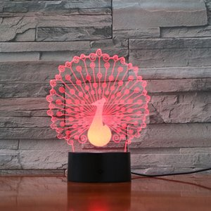 Peacock Animal 3D Night Light 7 Colors Change Optical Illusion LED Lamp USB Table Desk Lighting Kids Toy Bedroom Decor Xmas Holidays Birthday Gifts Boy Gir