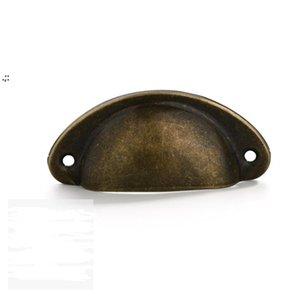 Retro Cabinet Knobs Handles Metal Home Drawer-Cabinet Door Handle-Furniture Knob Handware Cupboard Antique Brass Shell Pull Handle OWF10785
