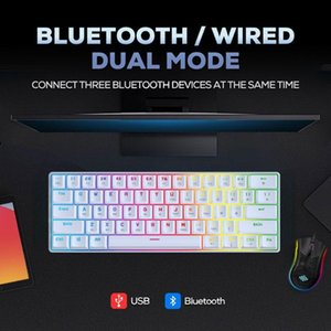 Gaming Mechanical Keyboard 61Key USB Bluetooth Dual-Mode Blue Switch Axis RGB Backlit For Desktop PC Computer Phone Tablet Keyboards
