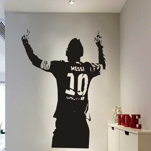 Black PVC Football Star Lionel Messi Figure Vinyl DIY Kids Living Room Wall Sticker Decals For Soccer Lovers