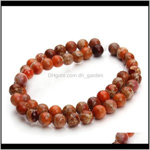 48Pcsstrand Natural Stone Sea Sent Imperial Jaspers Beads 8Mm Round Loose Spacer Bead For Necklace Jewelry Making F3046 Bs88P 2Zj7J