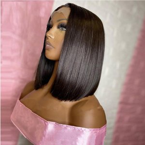 Synthetic Wigs 12Inch Short Bob Silky Straight Lace Front Wig For Black Women With Baby Hair Heat Resistant Glueless 180% Density