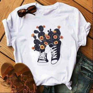 Fashion Women T Shirt Cartoon Cactus and Shoes Printed Tops Tee Harajuku Cute Female Graphic shirts Clothes Fem