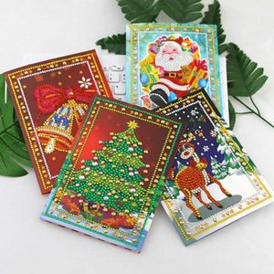 4pcs set Christmas Gifts 5D Diamond Painting Greeting Card Birthday Festival Card DIY Craft Christmas Cards Party
