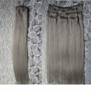 Grey Human Human Hair Extensions Virgin Grossa Clipe em Extensões de Cabelo 100g 7pcs