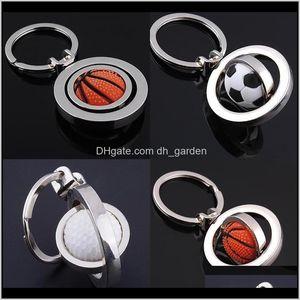 3D Sports Rotating Football Keychain Basketball Keyring Souvenirs Golf Pendant Rings Metal Key Chain Gifts Hip Hop Jewelry Rx2Qb Uj3Ym