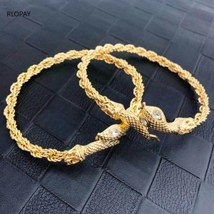 Turkish Trendy Snake Arm Bangles In Gold Arabic Luxury Charm Bracelet Bangle Big Size Bridal Anklet Jewlery For Women