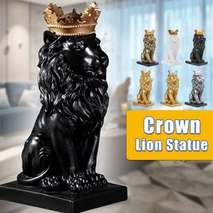 Crown Lion Sculptures Lion Statue Nordic Resin Style for Home King Handicraft Golden Lion Model Office Decor Figurines 210430