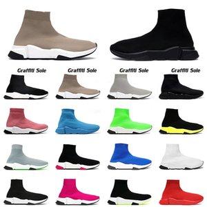 2021 جورب أحذية رياضية رجل إمرأة منصة أحذية رياضية مصمم حذاء كاجوال ثلاثي أسود بيج موضة luxurys جوارب ترفيهية أحذية العدائين 36-45