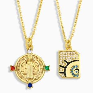 Позолоченные девственницы Мэри Ожерелье для женщин CZ Pave Evil Eye Подвеска защиты Ювелирных Изделий Вирген де Гуадалупе NKEU63 Ожерелья