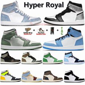 حجم 36-47 حذاء مع صندوق الجوارب Jumpman 1 1S الرجال أحذية كرة السلة ترافيس سكوتس دخان رمادي شيكاغو حجر السج UNC الفطر الرياضة المدربين