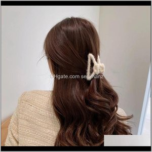Clamps Hair Jewelry Drop Delivery 2021 Autumn And Winter Furryalloy Net Red Simple Catch Girl Back Head Hairpin Clip Headdress A8Sur