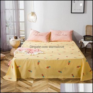 Sheets Bedding Supplies Textiles Home Gardensheets & Sets 100% Cotton Carrot Print Flat Sheet For Children Adts Single Double Bed Bedsheets