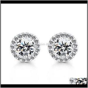 مسمار المجوهرات انخفاض التسليم 2021 كريستال أقراط الزفاف للنساء البوهيمي الجميلة جولة الماس حلق السيدات فتيات كامل ps0031 4hhkm