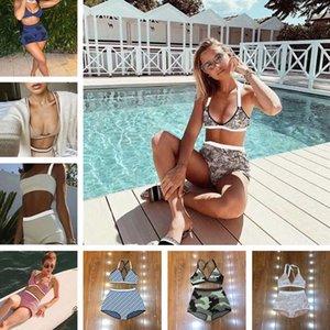 20 أنماط المرأة ملابس السباحة البيكينيات الملابس الداخلية مطاطا بدلة السباحة النسيج ارتفاع الخصر جاكار السيدات ملابس السباحة الصيف