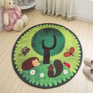 Animals Kids Rug Soft Gym Door Game Mat Home Cartoon Round Baby Play Mats Anti-skid Carpet Toys for Children Room Rug