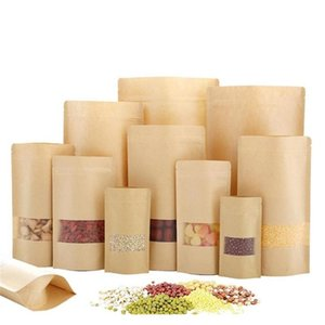 Kitchen Storage Housekeeping Organization Home & Garden Drop Delivery 2021 Kraft Paper Bag Ziplock Stand Up Food Pouches With Transparent Win