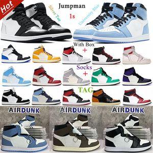 Top Quality University Blue Jumpman 1 1s Mens Basketball Shoes silver royal toe black metallic gold mid smoke grey UNC Patent men women Sneakers trainers