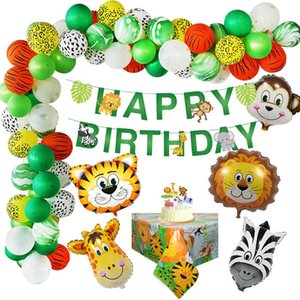 44pcs Set Jungle Safari Theme Party Birthday Decoration Boy Kids Animal Banner Cake Topper Tablecloth Jungle Birthday Supplies 210408