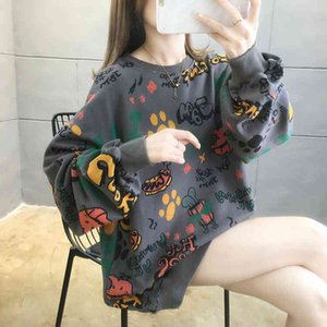 Large Size Cartoon Letter Sweatshirts Women 2020 Autumn Vogue Round Neck Harajuku Hip Hop Pullovers Tops Oversize Streetwear