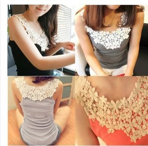 Petals Blossoming Daisy Lace Hook Collar Cotton Backing Shirt Suspender Vest Off Shoulder Hollow Stitching Women's Summer LZWQ
