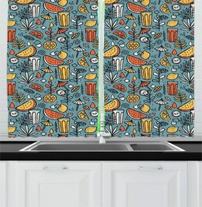Curtain & Drapes Petrol Blue Multicolor Summertime Kitchen Curtains Summery Beverages Lemonade Watermelon Slices Colorful Printing Window