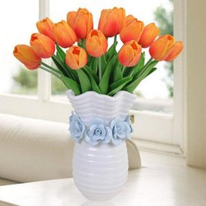 Tulips For Home Decoration Flores Artificial Flower Bouquet Silk PU Mini Real Touch Wedding Flowers Decorative & Wreaths