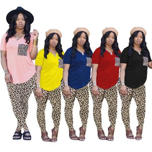 Женщины Joggers костюмы леопарда 2 шт. Штаны 3XL сексуальная футболка легинги летняя одежда Йога плюс размер потех пуловер рубашки мода повседневный спортивный костюм 4812