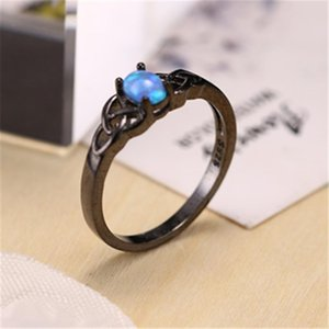 Wedding Rings Silver Ring Classic Fashion With Round Plated Black Inlaid Opal Hand Jewelry Temperament Women