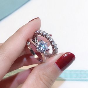Brand Promise Ring Set Real 100% 925 Sterling Silver Diamond Engagement Wedding Band Rings for Women finger jewelry