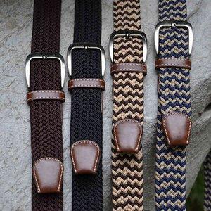 Men's Long Elastic Knitting Needle Buckle Leather Belt