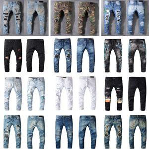Distressed Francia Fashion Pierre Straight Jeans Biker da uomo Jeans Jeans Hole Stretch Denim Casual Jean uomo Skinny Pants Pantaloni elasticizzanti Pantaloni strappati